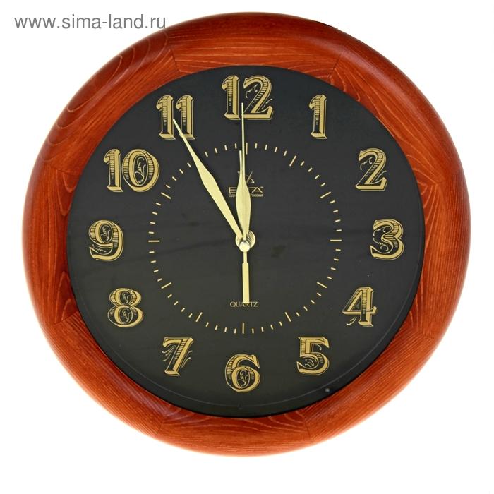 """Часы настенные круглые """"Классика"""", деревянные, черные"""