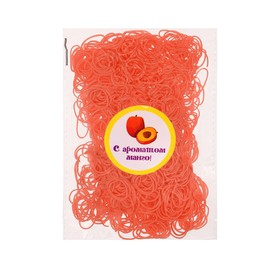 A set of hair elastics, 200 PCs., fragrance mango, color orange
