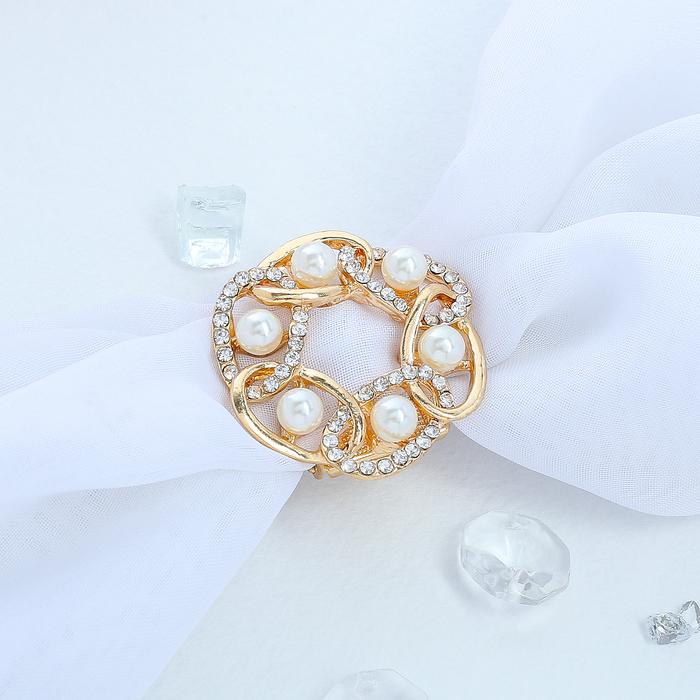 """Зажим для платка """"Звенья"""" с жемчужиной, цвет белый в золоте - фото 274891993"""