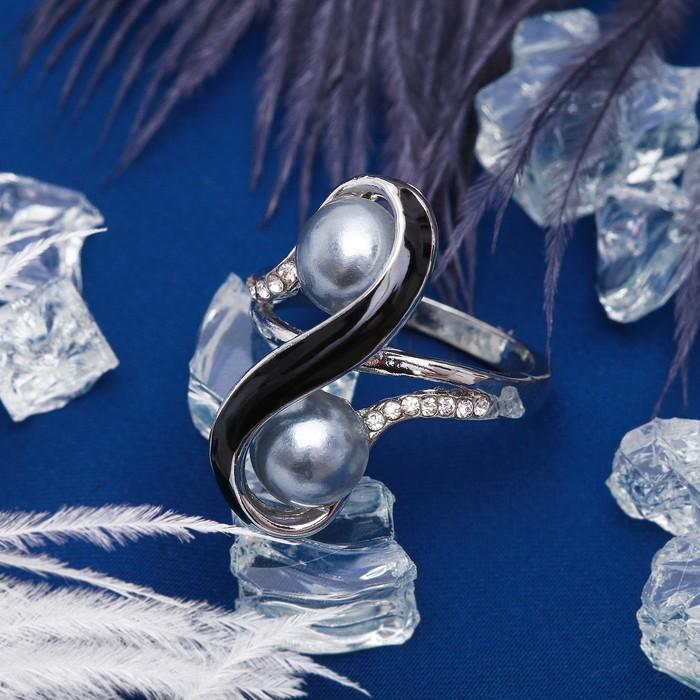 """Кольцо """"Жемчужина"""" завиток, цвет чёрный в серебре, размер МИКС"""