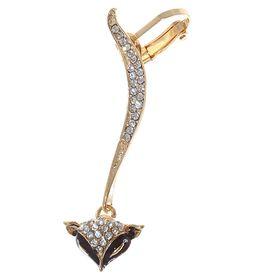 "Earring ""Kaffa"" Fox, black white gold"