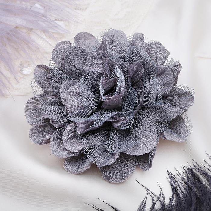 """Брошь """"Цветок дива"""" цвет серый"""