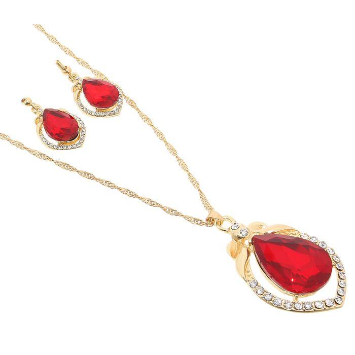 """Гарнитур 2 предмета: серьги, кулон """"Капля"""" крупная, цвет красный в золоте, 45см"""