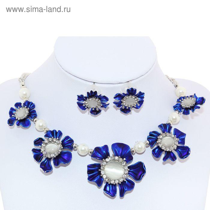 """Набор 2 предмета: серьги, колье """"Цветочная поляна"""", цвет серо-синий в серебре"""