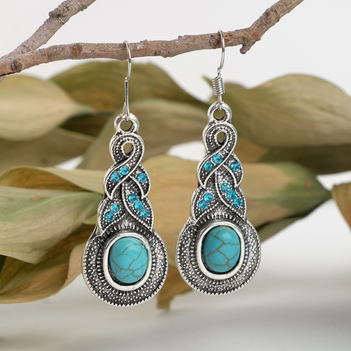 """Earrings """"Turquoise world"""" braid, color blue in silver"""