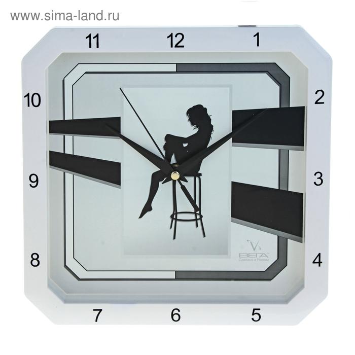 """Часы настенные квадратные """"Девушка"""", белые"""