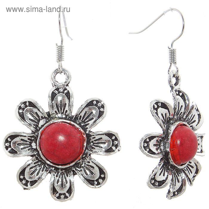 """Серьги """"Натурель"""" цветок, цвет красный в серебре"""