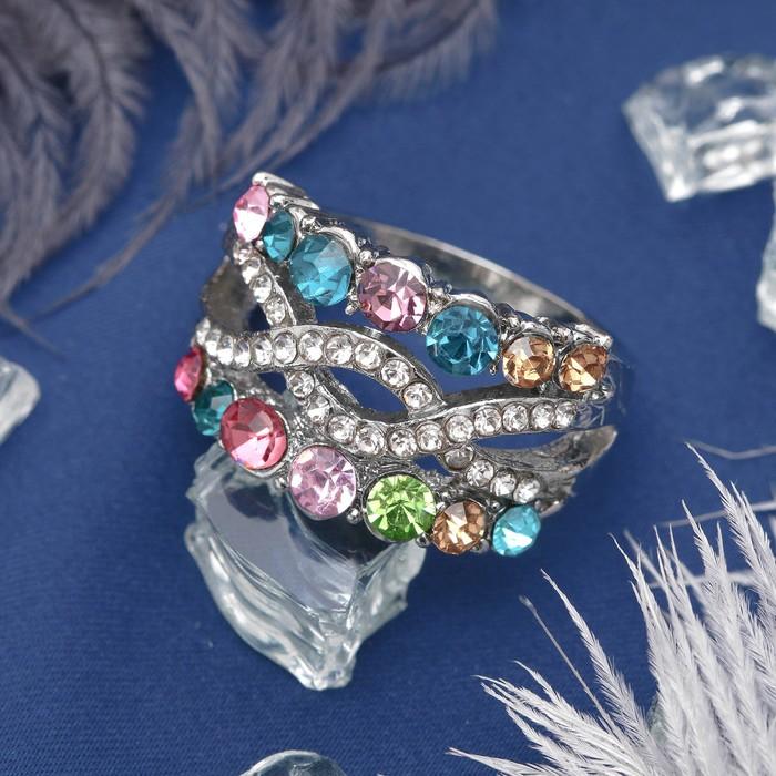 """Кольцо """"Узор"""" переплетение, цветное в серебре, размер 16,17,18 МИКС"""