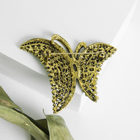 "Brooch ""Butterfly"", fancy, the color of emerald green in blackened gold"