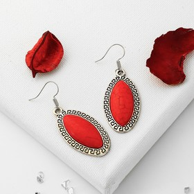 """Earrings """"Naturelle"""" ellipse color red in nielloed silver"""