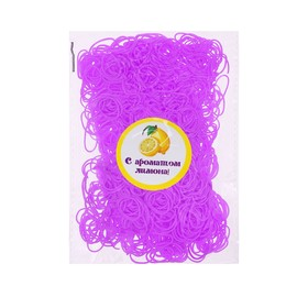 A set of hair elastics, 200 PCs., fragrance lemon, color purple