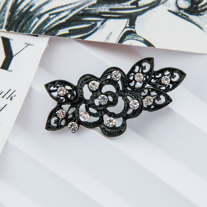 "Brooch ""Flower party"" rose with leaves, black"