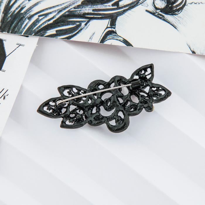 """Брошь """"Цветок вечерний"""", роза с листочками, цвет чёрный в чёрном металле - фото 301710948"""