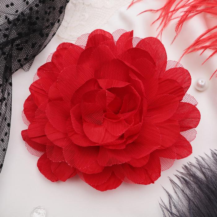 """Брошь """"Цветок дива"""" цвет красный"""
