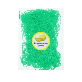 A set of rubber bands for hair, 200 pieces, melon flavor, color light green