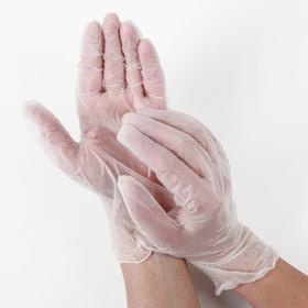 Перчатки виниловые одноразовые неопудренные, размер L, 100 шт/уп