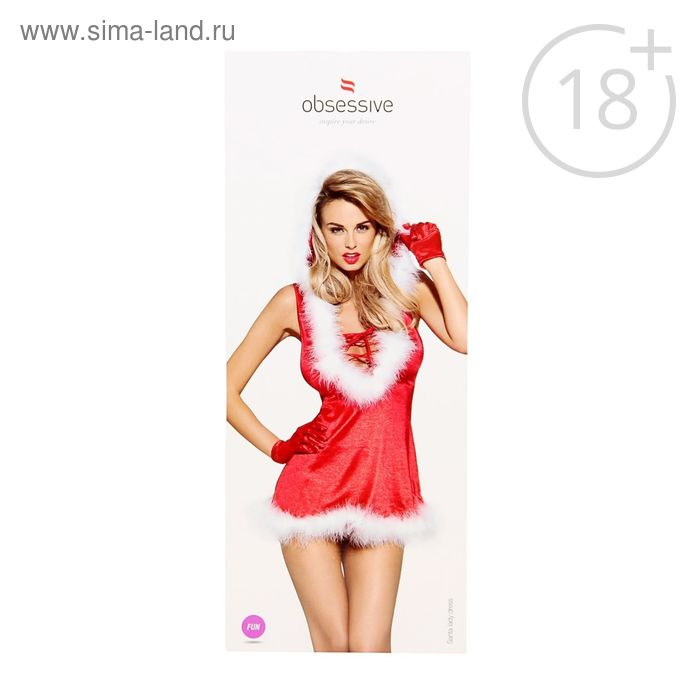 Эротическое бельё Santa lady dress платье+перчатки+стринги, размер XXL (50), цвет красный