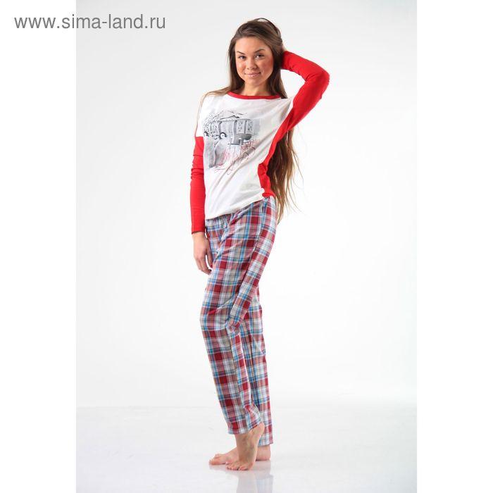 Джемпер+брюки М-246/1-26, экрю+красный, р-р 48