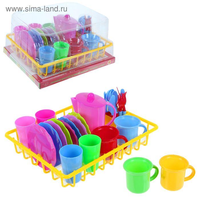"""Набор посуды """"Чаепитие"""" в сушилке, 27 предметов, наклейки"""