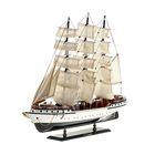 Корабль сувенирный большой «Трёхмачтовый», борта белые с чёрной полосой, паруса белые, 79 х 55 х 12 см