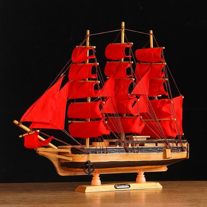 Корабль сувенирный средний «Ахиллес», паруса красные, 39х44х7 см