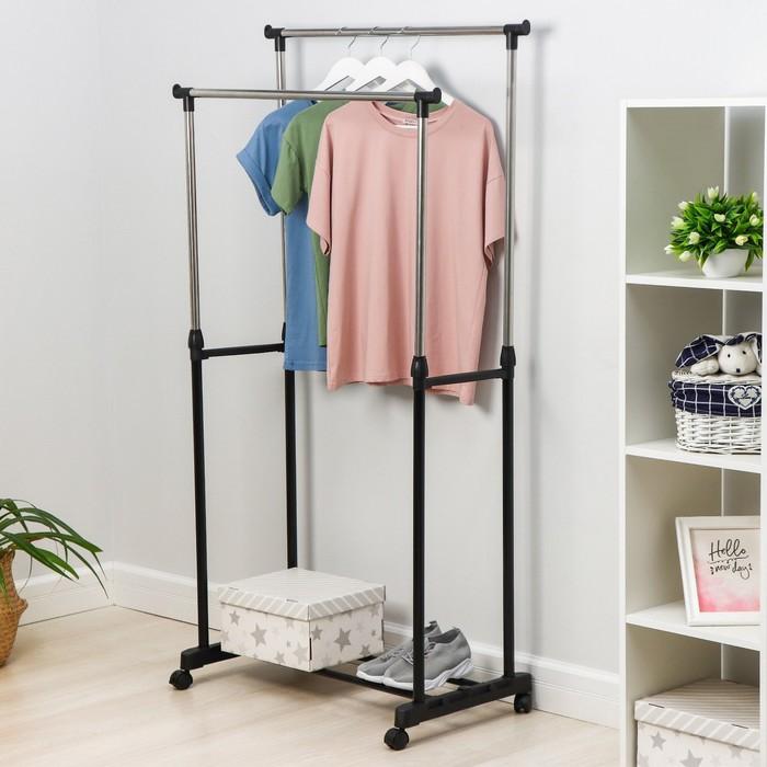 Стойка для одежды телескопическая, 2 перекладины 80х42х95(170) см, окрашенный металл