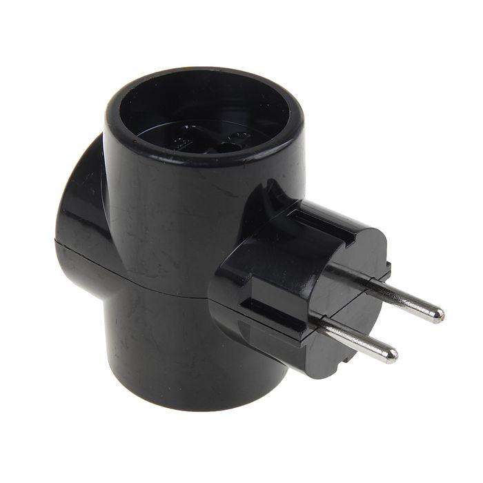 Разветвитель Toker 3T, трехместный, без заземления, 220 В, чёрный