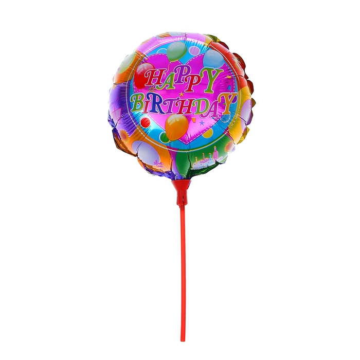 """Balloon foil 10"""" """"happy birthday!"""" with a stick, circle"""