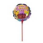 """Шар фольгированный 10"""" """"С днём рождения"""" с палочкой, торт со свечами, круг"""