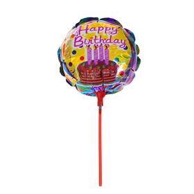 Шар фольгированный 10' 'С днём рождения' с палочкой, торт со свечами, круг Ош