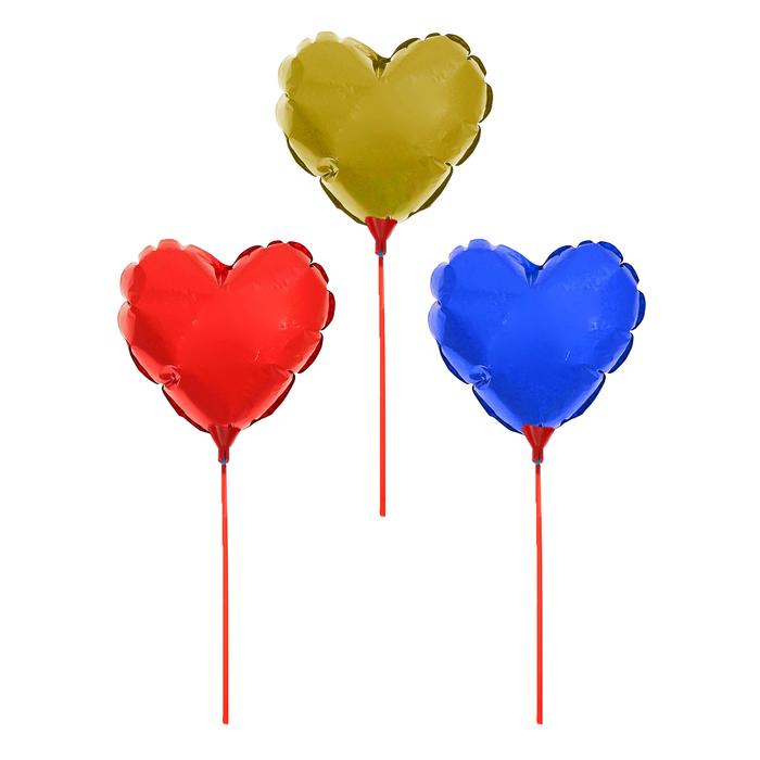"""Шар фольгированный 12"""" «Сердце с бахромой», с палочкой, цвета МИКС"""