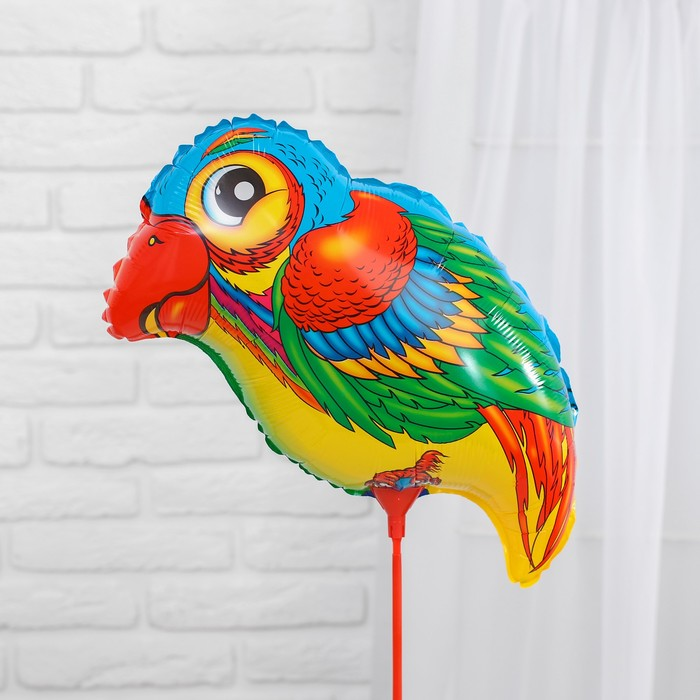 """Balloon foil 10"""" """"Parrot - big eyes"""" with a stick"""