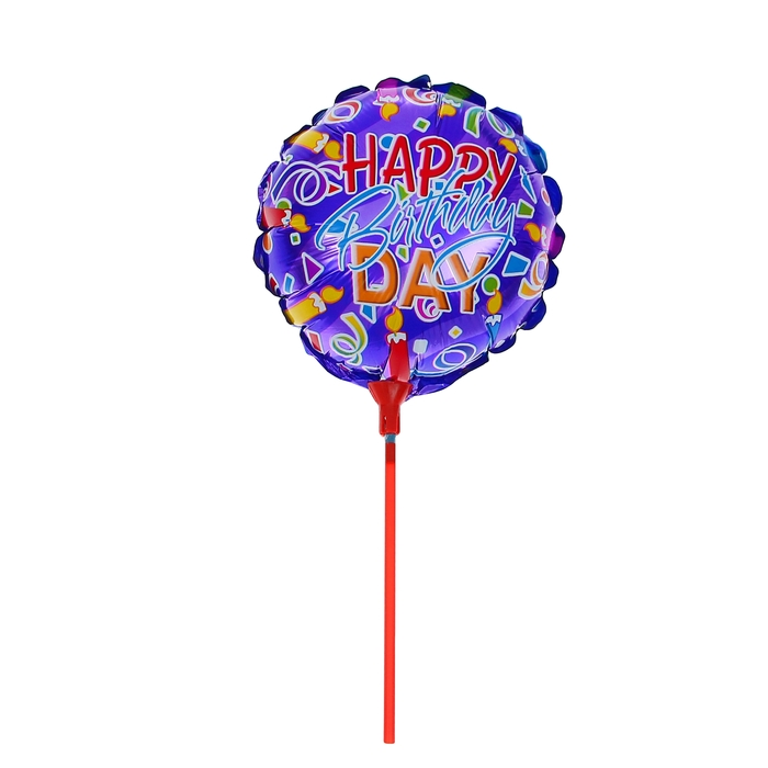"Balloon foil 10"" ""happy birthday"" with a stick, candle, round"