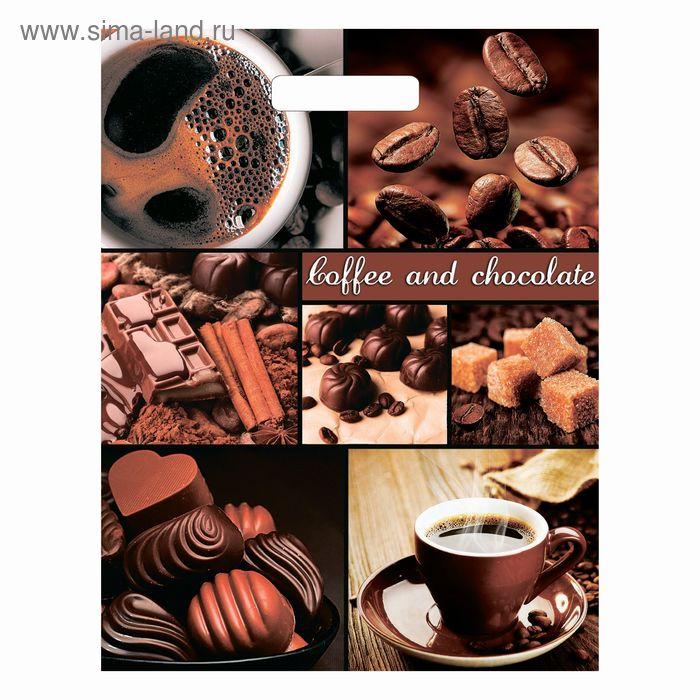 """Пакет """"Кофе и шоколад"""", полиэтиленовый с вырубной ручкой, 40 х 31 см, 60 мкм"""