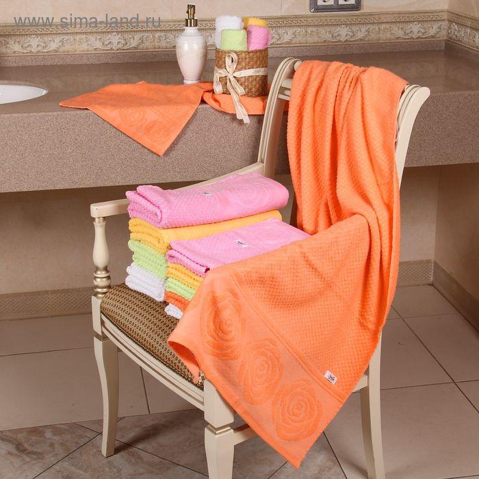 """Полотенце махровое """"Этель"""" Аморэ оранжевый 70*140 см, 100% хлопок, 400гр/м2"""