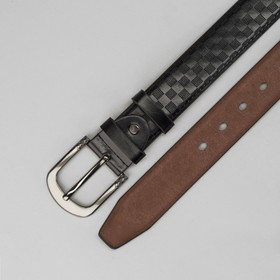 Men's belt, checkers, screw, buckle is a dark metal, width 4cm, black color