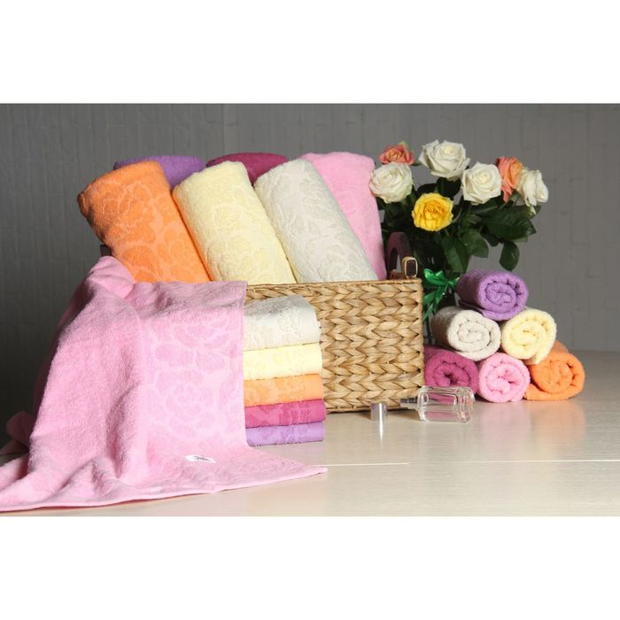 """Полотенце махровое """"Этель"""" Флоренция розовый 70*140 см, 100% хлопок, 400гр/м2"""