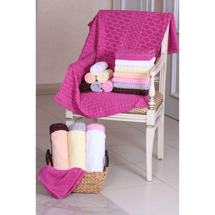 "Terry towel ""Ethel"" the Serpent dark pink 70*140cm, 100% cotton, 400gr/m2"