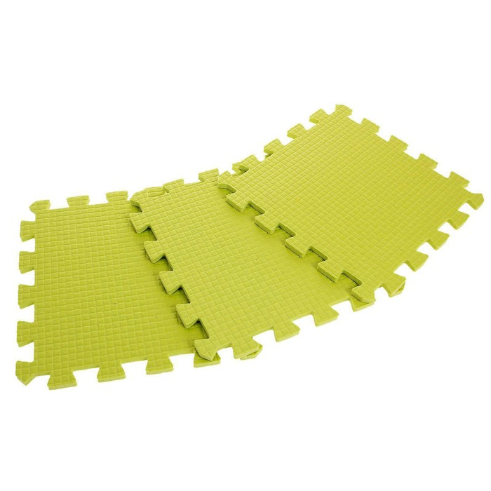 Children's rug puzzle (soft), 9 elements, thickness 0.9 cm, color light green.