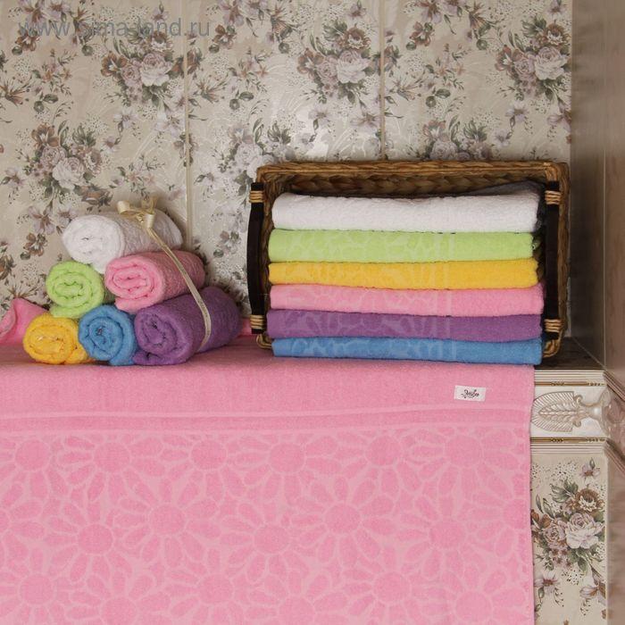 """Полотенце махровое """"Этель"""" Герберы розовый 70*140 см, 100% хлопок, 400гр/м2"""