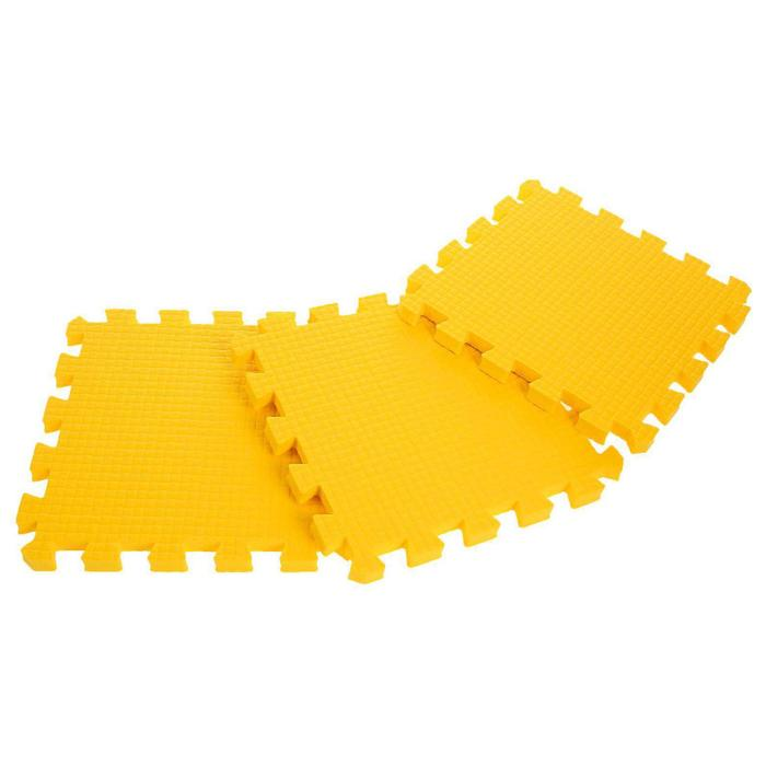 Children's rug puzzle (soft), 9 elements, thickness 1.8 cm, color yellow.