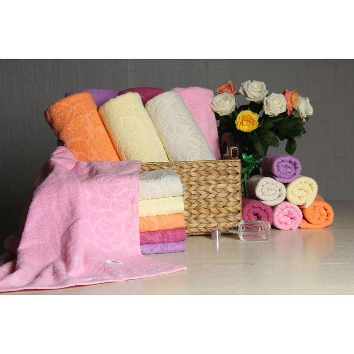 """Полотенце махровое """"Этель"""" Флоренция розовый 50*90 см, 100% хлопок, 400гр/м2"""