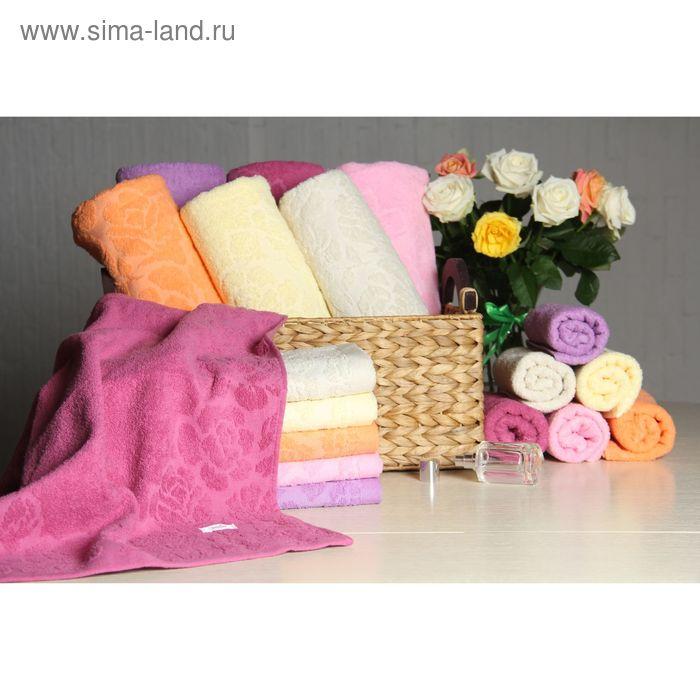 """Полотенце махровое """"Этель"""" Флоренция темно-розовый 70*140 см, 100% хлопок, 400гр/м2"""