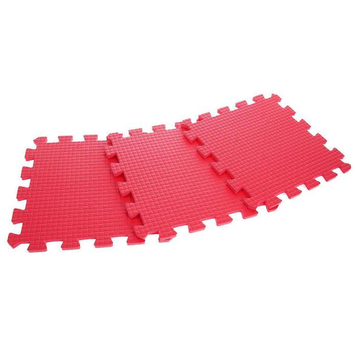 Детский коврик-пазл (мягкий), 9 элементов, толщина 0,9 см, цвет красный, термоплёнка - фото 105594616