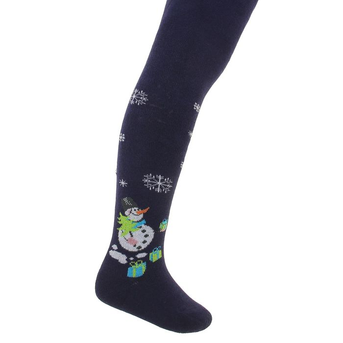Terry children's tights, color dark blue, height 80-86 cm