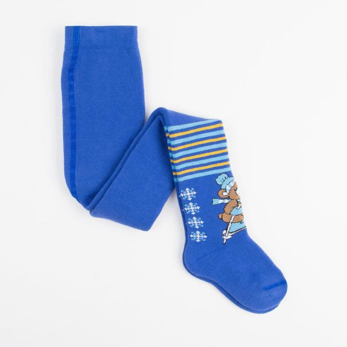 Terry children's tights, cornflower blue, height 98-104 cm
