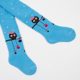 Terry children's tights, color blue, height 86-92 cm