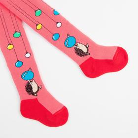 Terry children's tights, coral color, height 80-86 cm