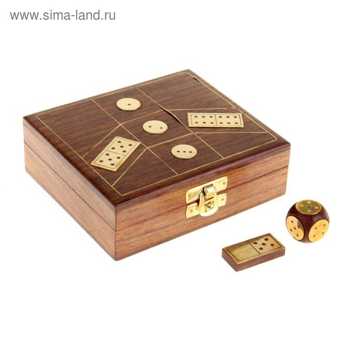 Игры настольные в шкатулке (домино, 4 кубика), тёмные