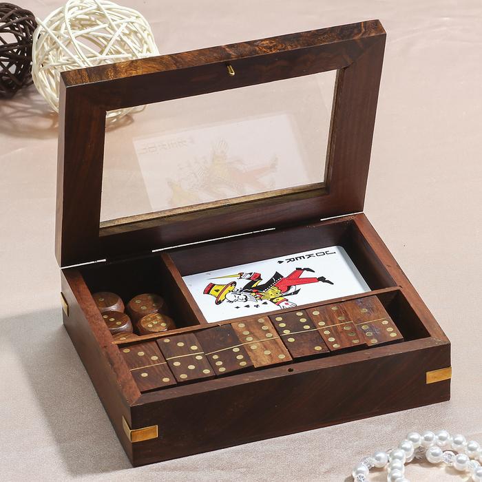 Набор игр в шкатулке (домино, карты, 5 кубиков)